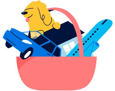 Illustrasjon av kurv med bil, hund og fly