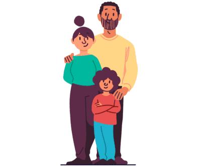 Illustrasjon av en familie på tre