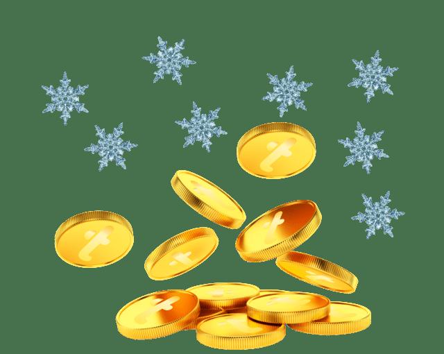 Haug med Trumf-mynter og snøflak som faller ned