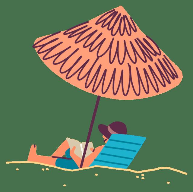 Illustrasjon av solbrun mann som sitter under en parasoll på stranden