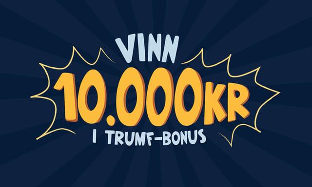 Tekst som indikerer at du kan vinne 10 000 kr i Trumf-bonus