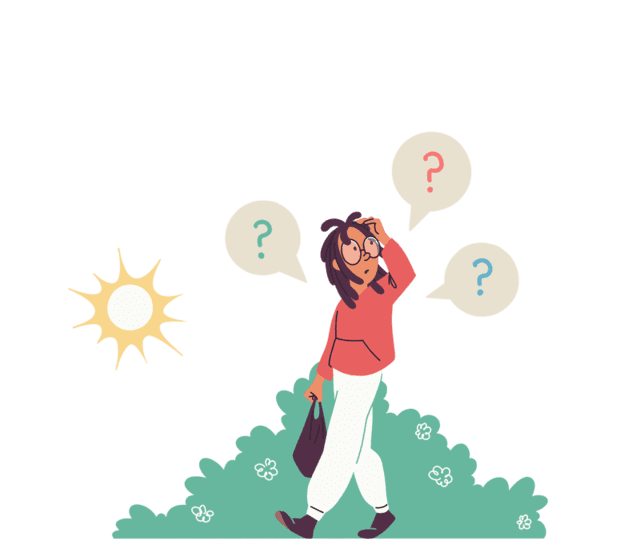 Illustrasjon av gutt som klør seg i hodet med bobler av spørsmålstegn rundt seg