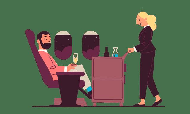 Illustrasjon av mann som sitter på et fly og blir servert av en flyvertinne med tralle