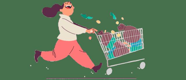 Illustrasjon av dame som løper med en handlekurv fylt med penger foran seg