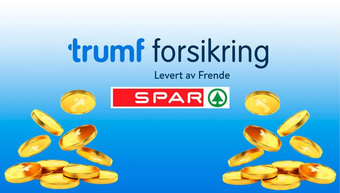 Trumf Forsikring logo, SPAR logo og mynter på blå bakgrunn