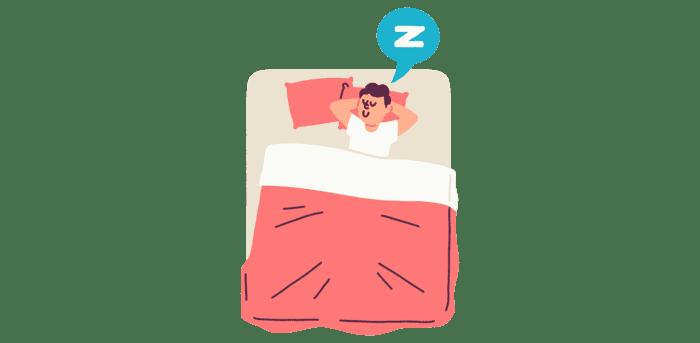 Illustrasjon av mann som sover snorkende i en seng