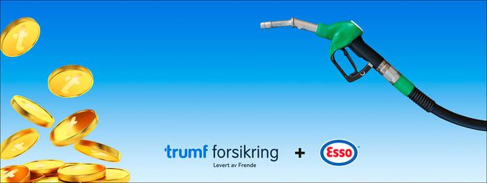 Mynter og drivstofftank på blå bakgrunn med Trumf Forsikring og Esso logo