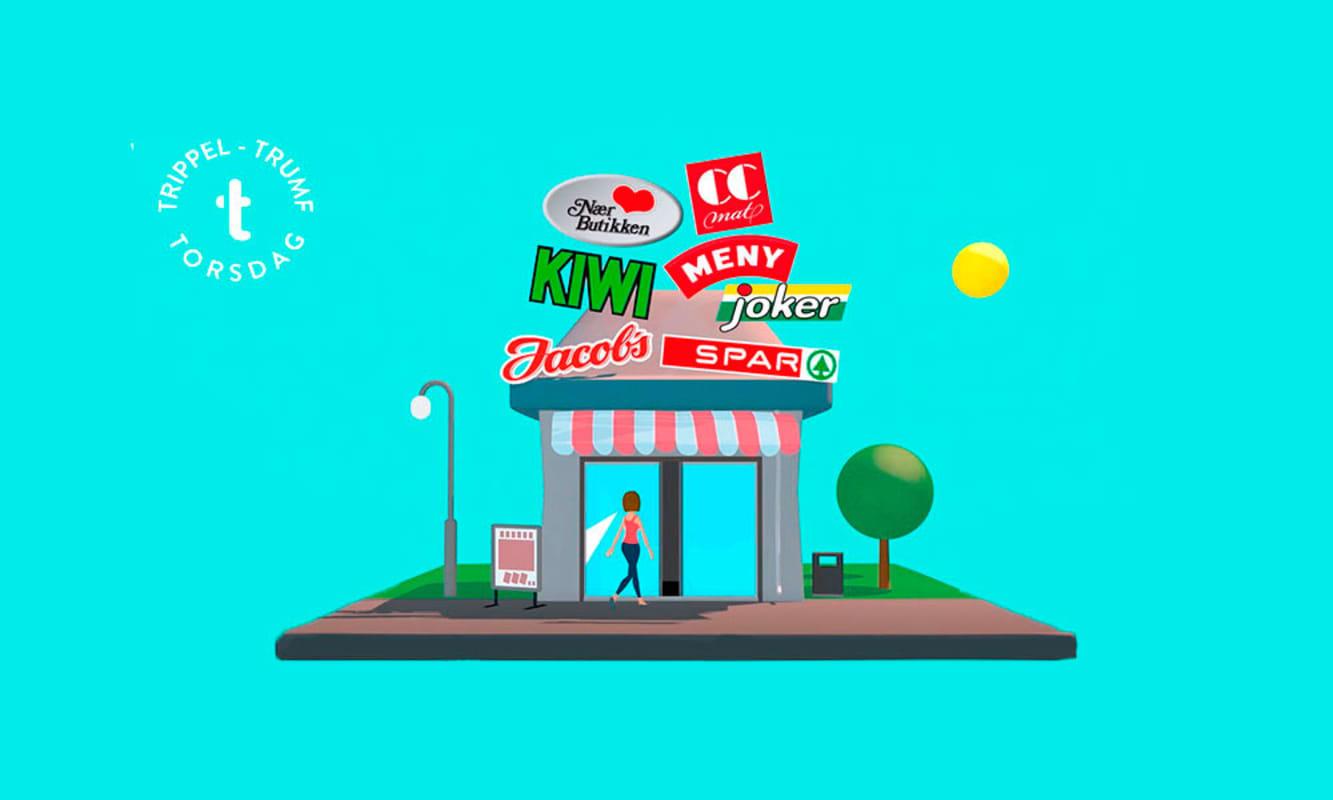 Illustrasjon av dagligvarebutikk med alle Norgesgruppen sin dagligvarelogoer på taket