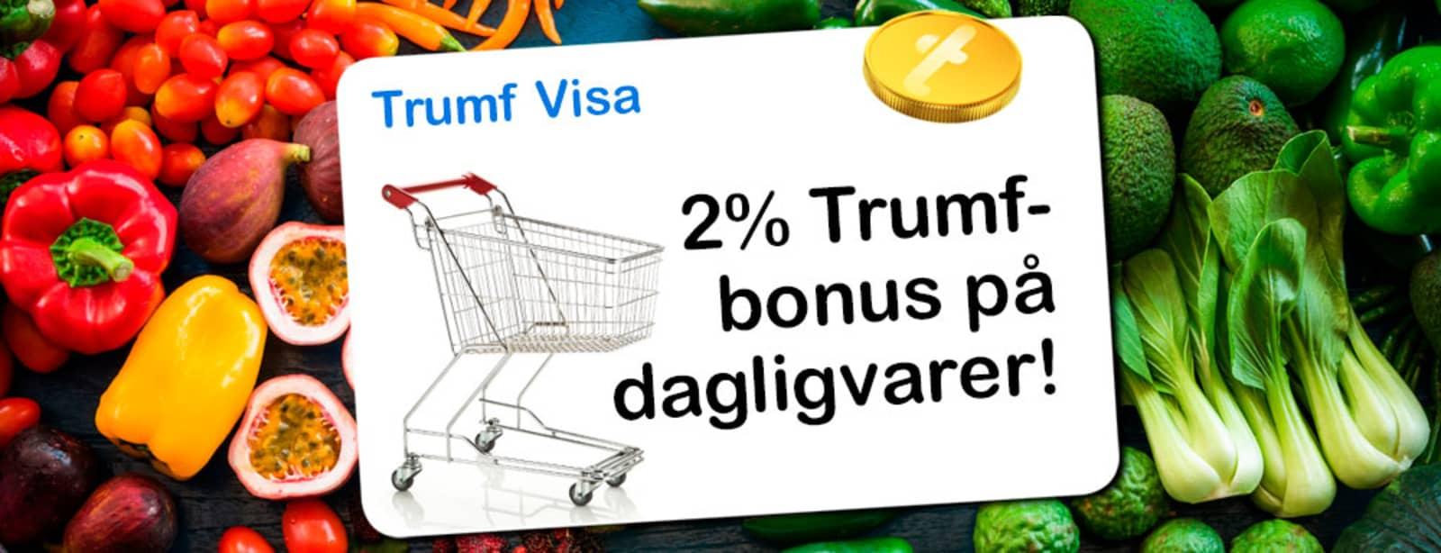 """Masse grønnsaker med en illusjon av et kort oppå med teksten """"2 % Trumf-bonus på dagligvarer"""""""