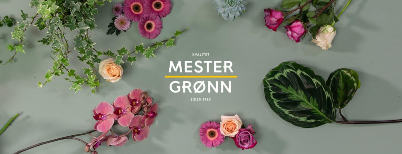 Friske blomster som ligger på et bord med Mester Grønn logo