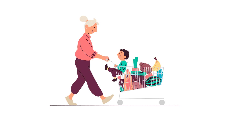 Illustrasjon av dame som triller en handlekurv med masse dagligvarer og et barn i