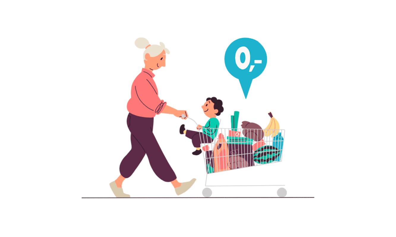 Illustrasjon av bestemor som triller en handlekurv fylt med varer og barnebarnet i