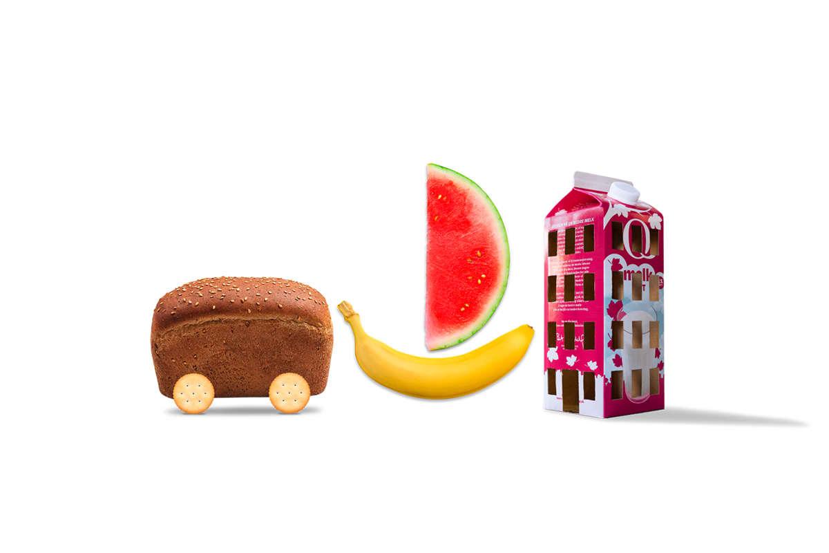 Brød som illustrerer en bil, banan og vannmelom som illustrerer en båt og melkekartong som illustrerer et hus