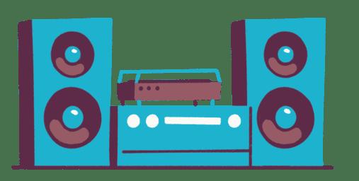 Illustrasjon av blått stereoanlegg