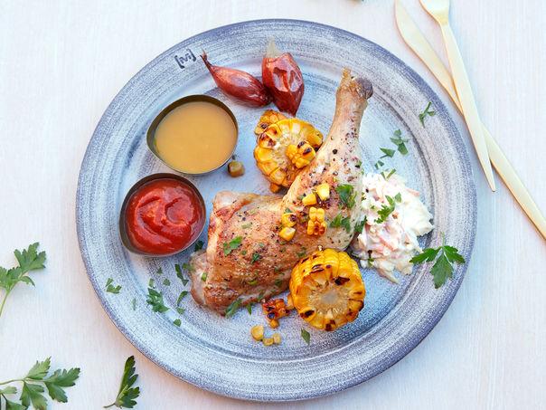 Grillet kyllinglår med coleslaw