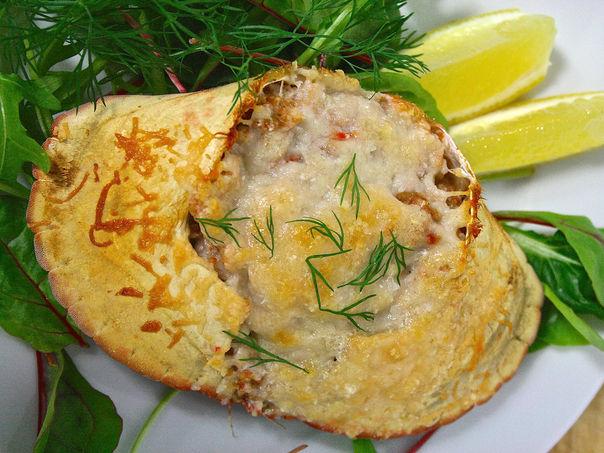 Krabbe gratinert med parmesan