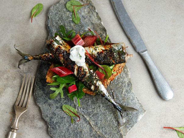Makrell blings med syltet rabarbra