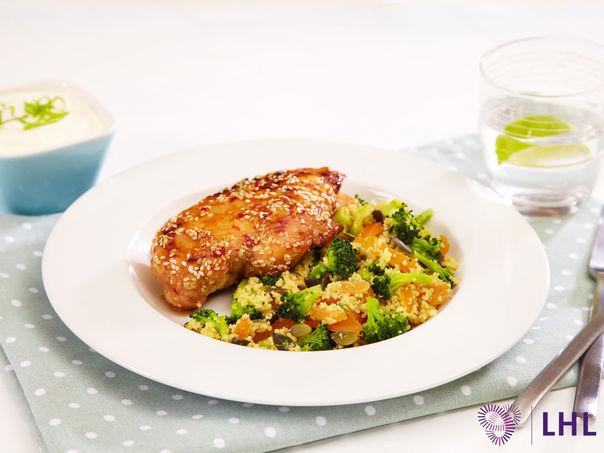 Kylling med couscous og  limeyoghurt