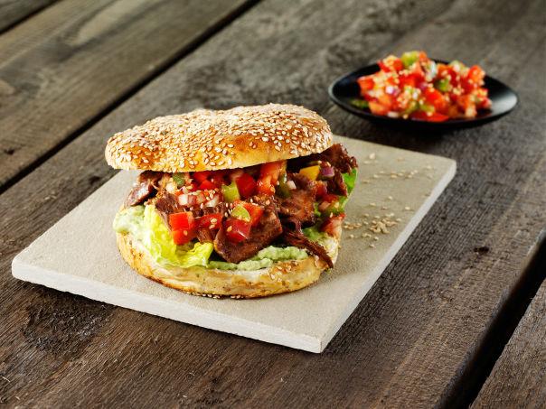 Tex-Mex pulled beef burger