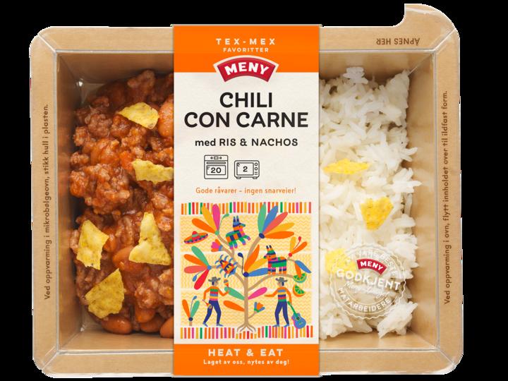 Chili con carne fra Heat & Eat kommer med ris og nachos, og du varmer den enkelt i ovn eller micro.