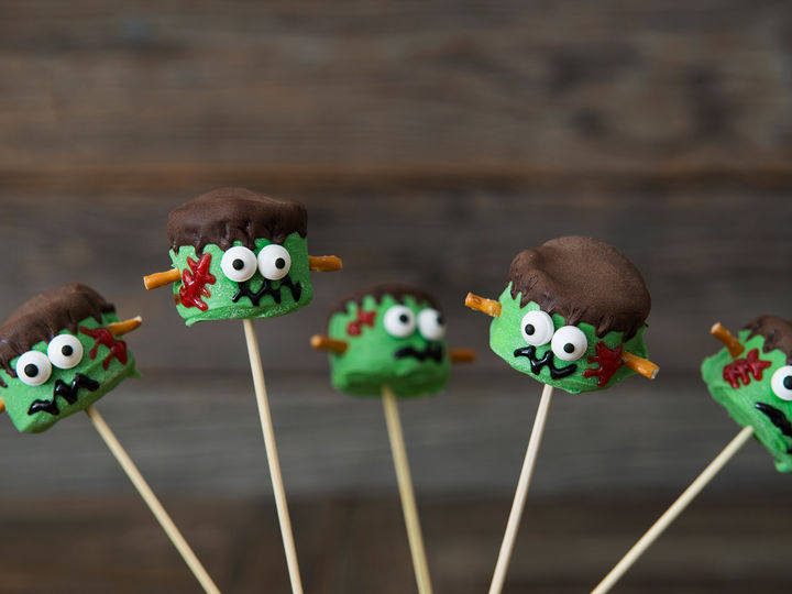 Frankenstein-marshmallows er en favoritt hos barna!