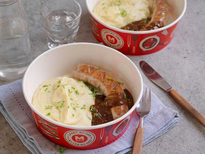 Bangers & mash, eller på norsk pølse og potetmos, er ekte gastropubmat som er lett å like. Perfekt til lunsj eller når du er på farten.