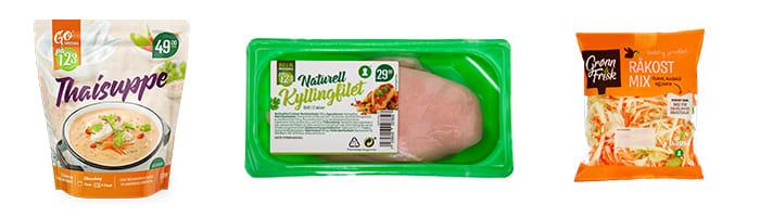 Thaisuppe, kyllingfilet og fersk råkostmiks