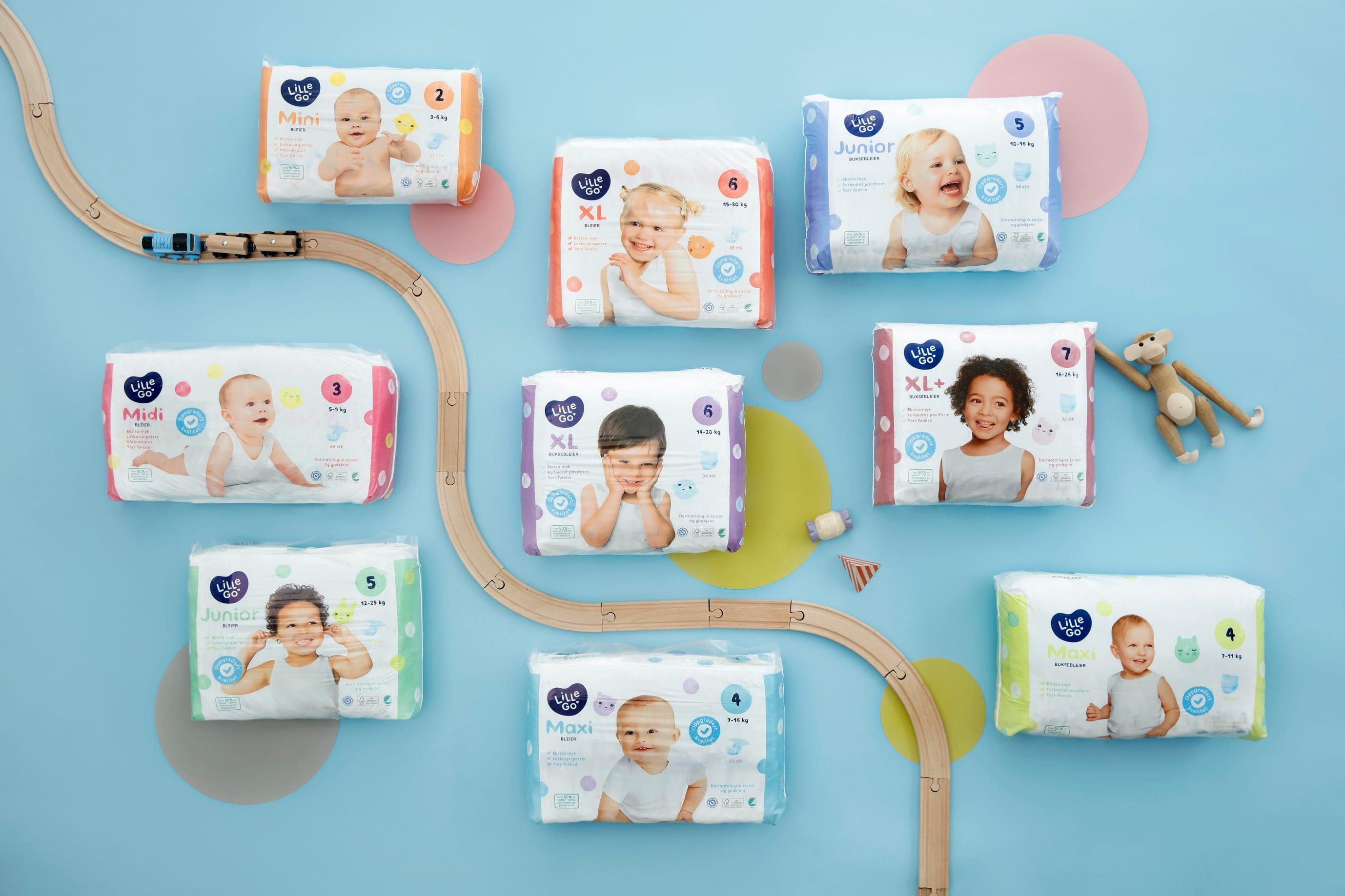 LilleGo'-bleiene finnes i ni ulike størrelser