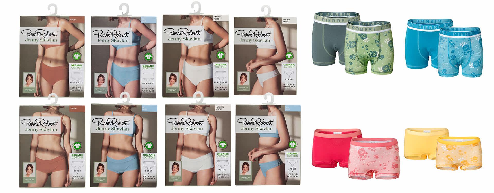 Disse selges i alle KIWI-butikker: Slik ser Jenny Skavlans undertøykolleksjon fra Pierre Robert ut. Illustrasjonene på barneundertøyet har hun tegnet selv.