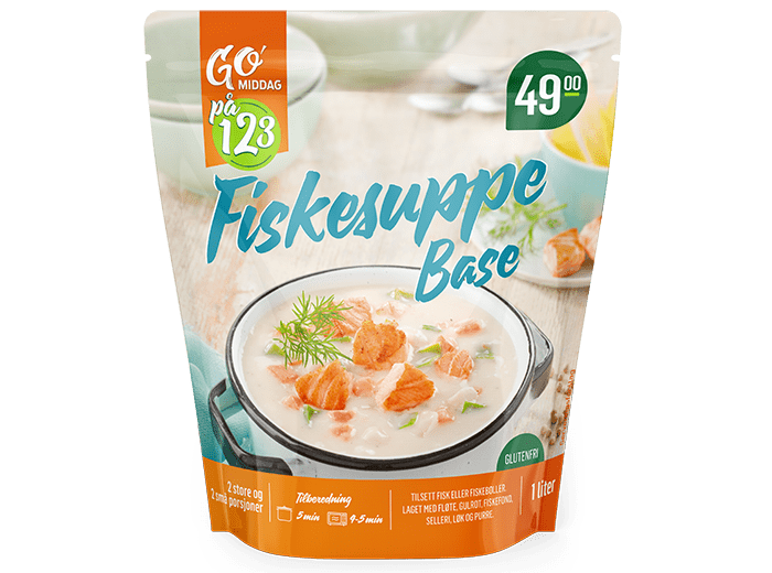 GO'middag 1,2,3 fiskesuppe-base 49,90 kr hos KIWI.