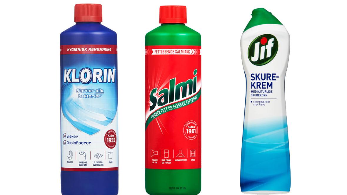 Klorin, Salmi og Jif skurekrem er nyttige å ha når hagemøblene i plast skal rengjøres.