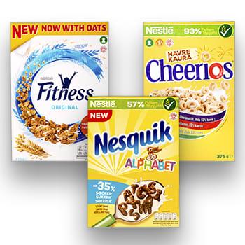 Nestlé Fitness, Cheerios Havre og Nesquik Alphabet finnes i alle KIWI-butikker.