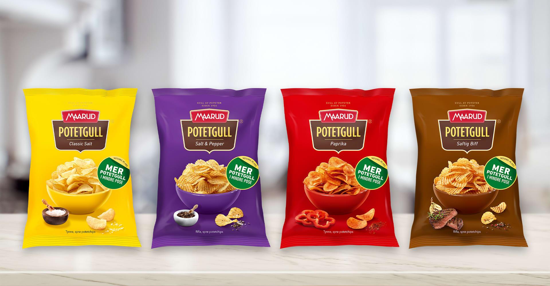 De nye potetgullposene til Maarud sine bestselgere, Potetgull Classic Salt, Salt & Pepper, Paprika og Saftig Biff, blir mindre, men gramvekten øker med 10 gram.