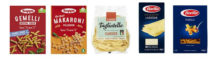 Du finner både fersk og tørr pasta i alle KIWIs butikker, og du kan velge mellom vanlig hvit pasta, pasta tilsatt ekstra fiber eller flere varianter fullkornspasta.