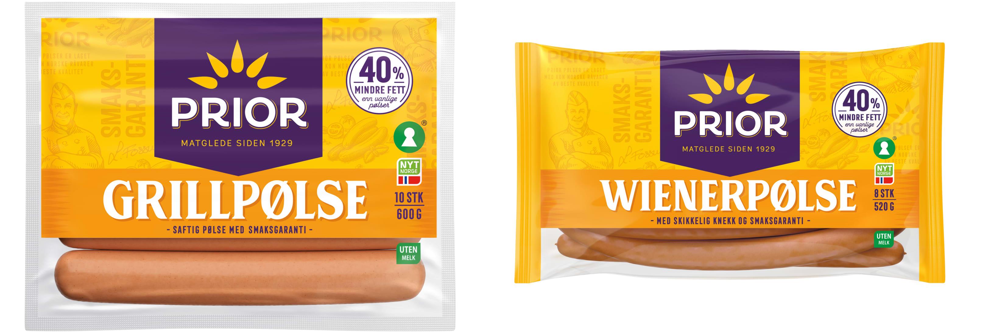 Pølsene fra Prior har kommet i ny forpakning, men er de samme gode pølsene av kylling og kalkun med 40 prosent mindre fett.