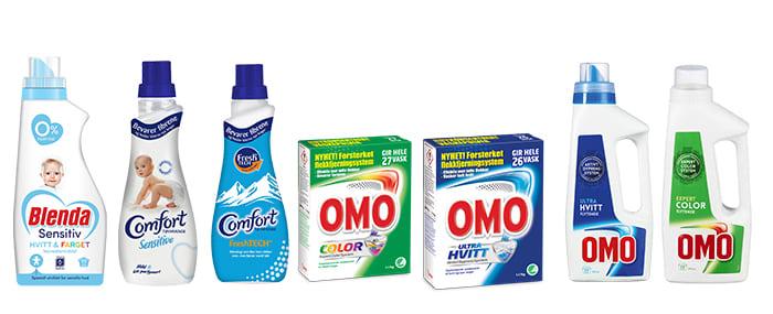 Vaskemidler fra OMO, Blenda og Comfortsom er med i kampanjen.