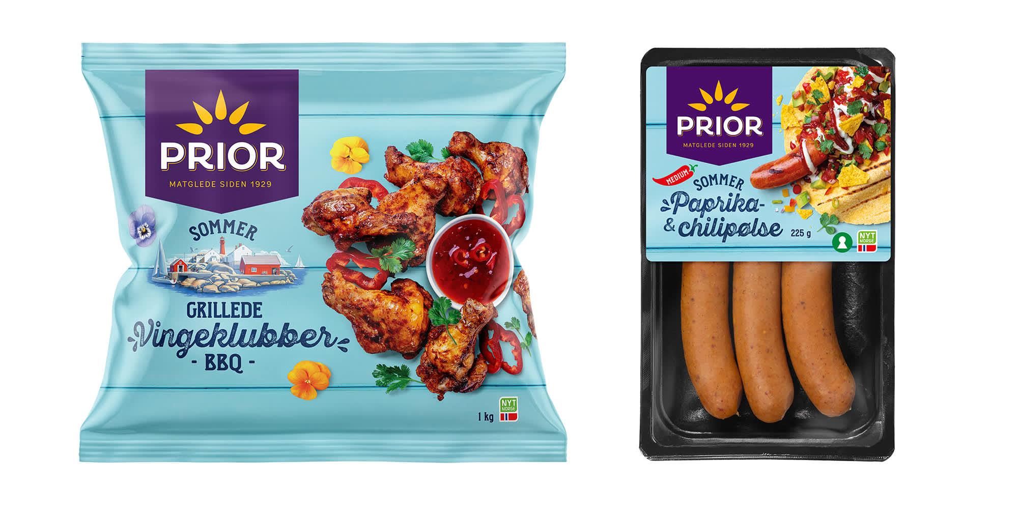 Prior grillede vingeklubber BBQ og Paprika- & Chilipølse.