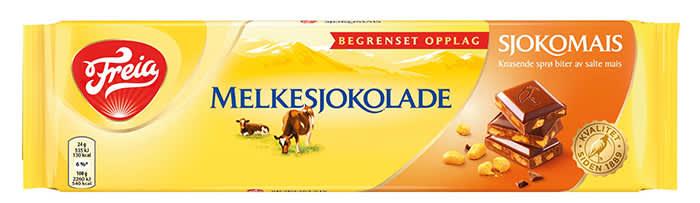Melkesjokolade Sjokomais: Sjokomais er en annen av Freias nyheter denne høsten. Her får du den velkjente melkesjokoladen med knasende sprø biter av salte mais.