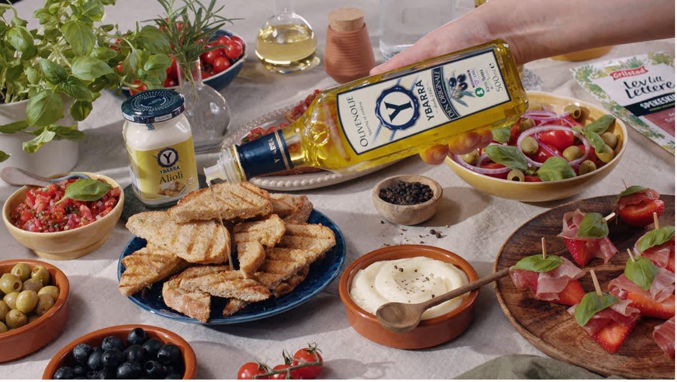 Ristet landbrød med olivenolje