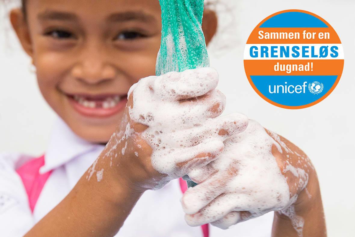 Såpe og håndvaskfasiliteter til sårbare barn er kun ett av nøkkelområdene i GRENSELØS dugnad. Foto: UNICEF