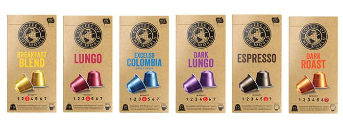 Nespresso-kompatible kaffekapsler fra Coffee of the World selges hos KIWI.