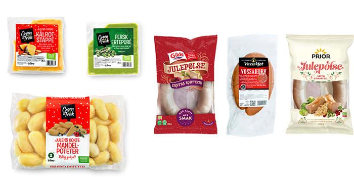 Sous-vide julegrønnsaker fra Grønn & Frisk har blitt svært populære de siste årene. Du kan også velge mellom flere forskjellige typer julepølse, utvalget kan variere fra butikk til butikk.