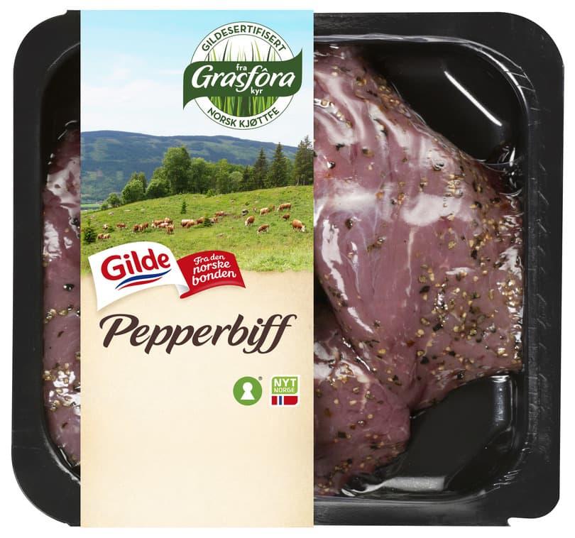 Gilde pepperbiff fra grasfôra kyr.