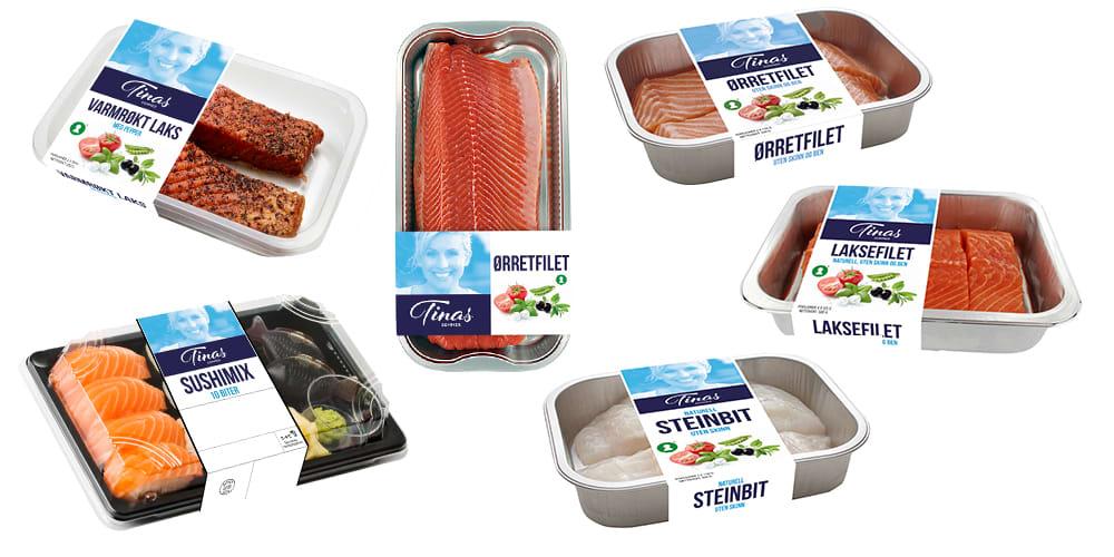 Fiskeprodukter fra Tinas sommer: Varmrøkt laks med pepper, ørretfilet, hel ørretfilet uten skinn og bein, sushimix 10 biter, steinbit uten skinn