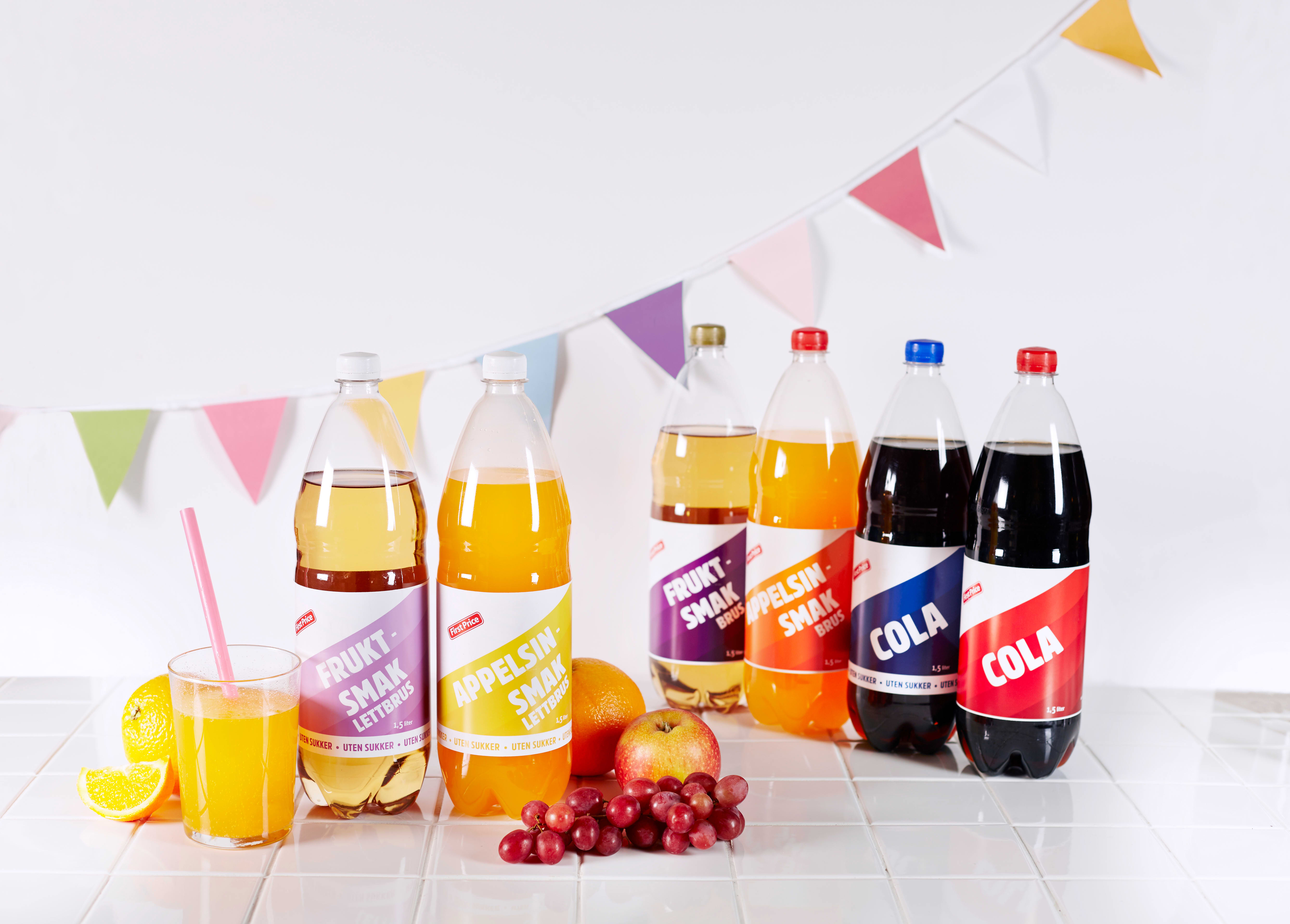 Vi har også fjernet 5 % sukker fra den originale First Price-brusen, i tillegg har vi helt sukkerfrie alternativer av alle tre variantene: Cola, fruktbrus og appelsinbrus.