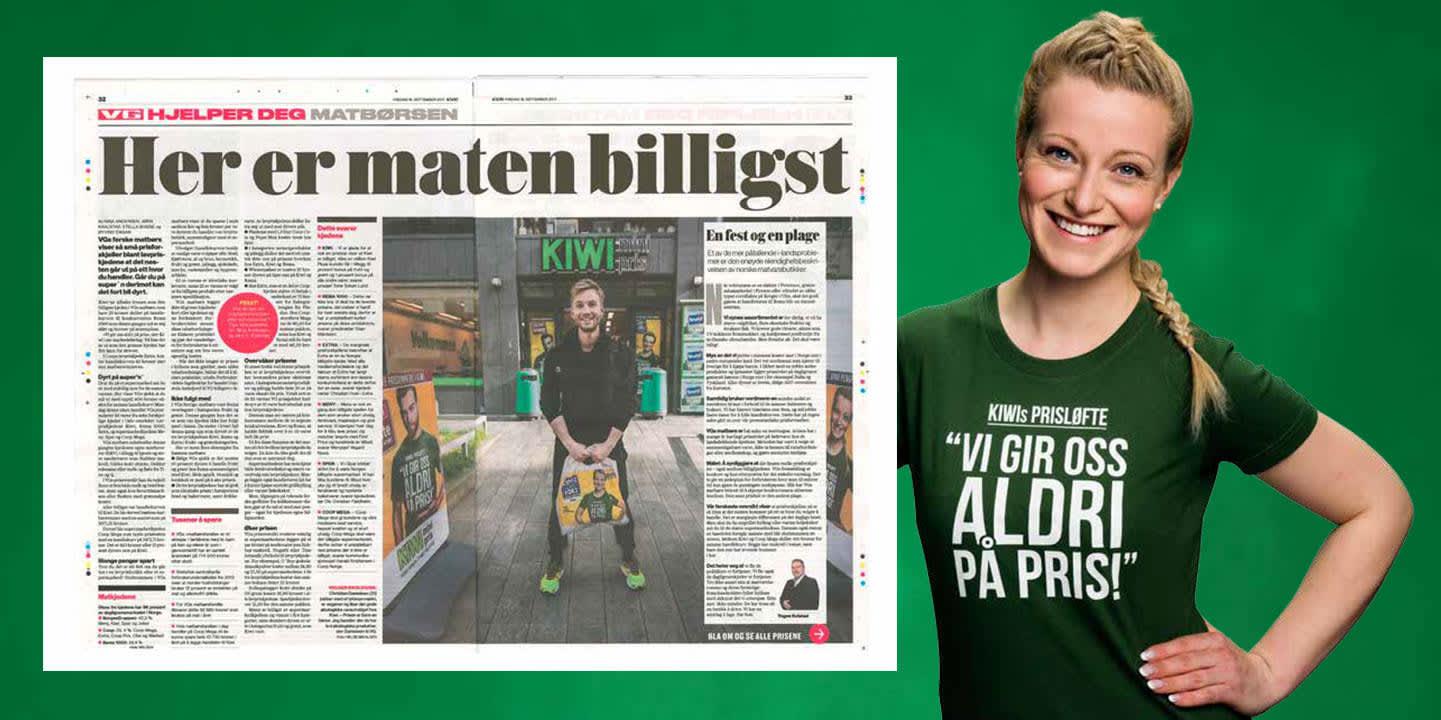 KIWI til topps i VGs matbørs. FOTO: Faksimile fra VG