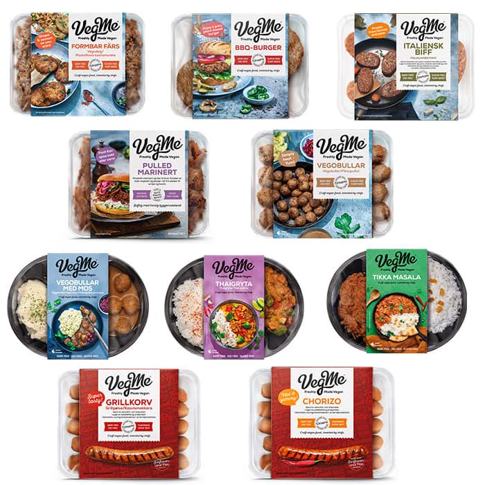 Dette er produktene i VegMe-serien, utvalget hos KIWI varierer fra butikk til butikk. I tillegg finnes det VegMe Aioli og VegMe Bearnaise i utvalgte butikker.