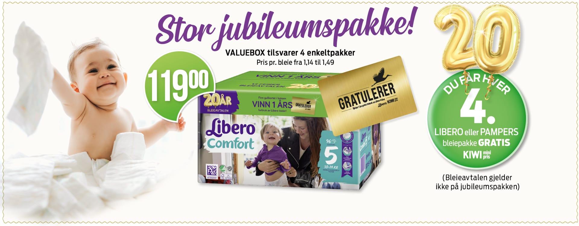 Se etter jubileumsdesignet på valueboksene fra Libero neste gang du kjøper bleier.
