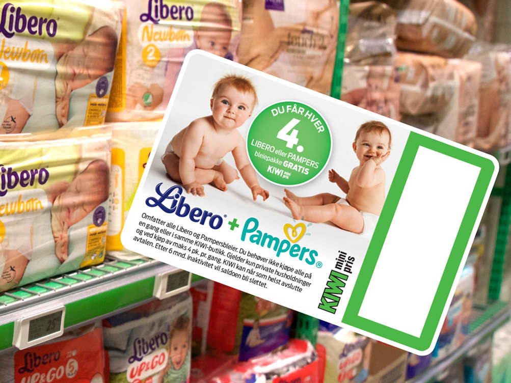 Få hver 4. pakke med Libero- og Pampers-bleier gratis med KIWIs bleiekort.