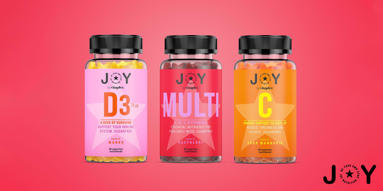 JOY kommer i tre smakfulle varianter: D-vitamin for alle over 16 år, multivitamin for alle over 11 år og C-vitamin for alle over 3 år.